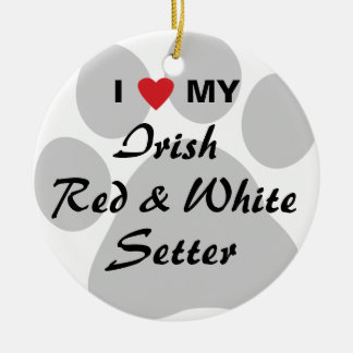 I Love My Irish Red and White Setter Round Ceramic Ornament