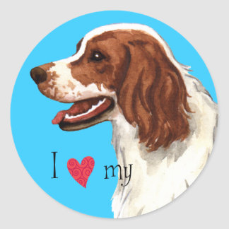 I Love my Irish Red and White Setter Round Sticker