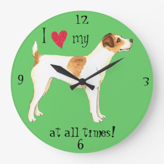 I Love my Jack Russell Terrier Large Clock