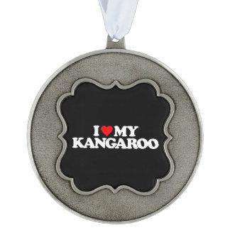 I LOVE MY KANGAROO SCALLOPED PEWTER ORNAMENT