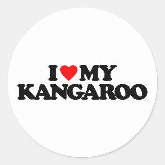 I LOVE MY KANGAROO ROUND STICKERS