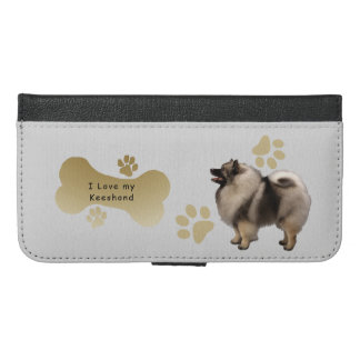 I Love my Keeshond w/bone-n-paws iPhone 6/6s Plus Wallet Case