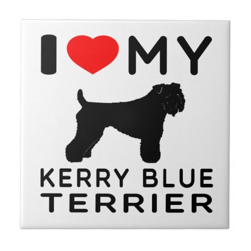 I Love My Kerry Blue Terrier. Ceramic Tiles