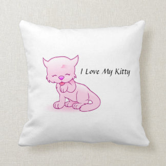 I Love My Kitty Throw Pillow