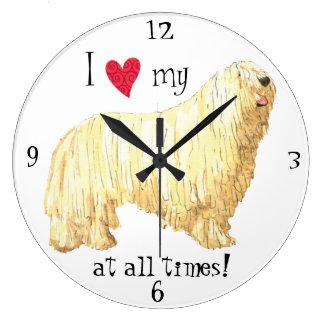I Love my Komondor Large Clock