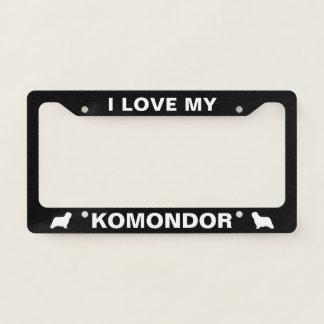 I Love My Komondor - Silhouettes - Custom License Plate Frame