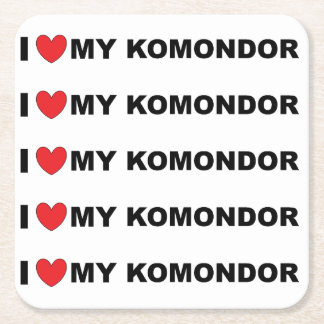 i love my komondor square paper coaster