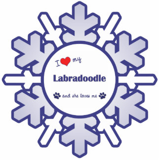 I Love My Labradoodle (Female Dog) Photo Sculpture Ornament