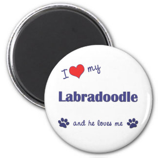 I Love My Labradoodle (Male Dog) 2 Inch Round Magnet