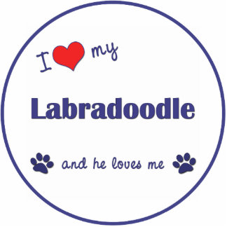 I Love My Labradoodle (Male Dog) Photo Sculpture Ornament