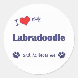 I Love My Labradoodle (Male Dog) Round Sticker