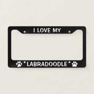 I Love My Labradoodle - Paw Prints License Plate Frame