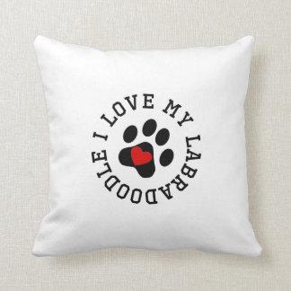I Love My Labradoodle Throw Pillows
