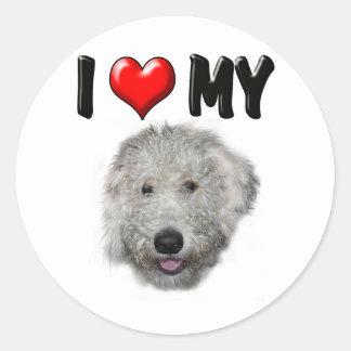 I Love My Labradoodle Round Sticker