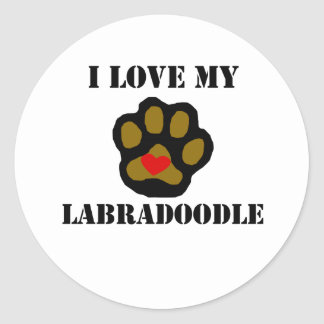 I Love My Labradoodle Round Stickers