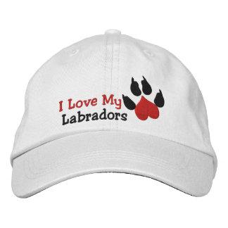 I Love My Labradors Dog Paw Print Baseball Cap