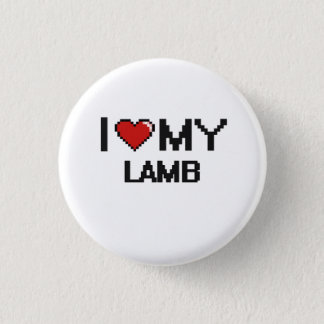 I Love My Lamb Digital design 1 Inch Round Button
