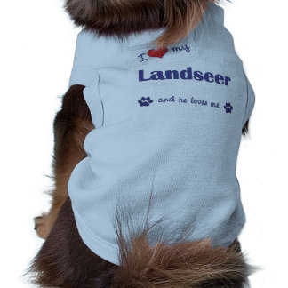 I Love My Landseer (Male Dog) Doggie Tee Shirt