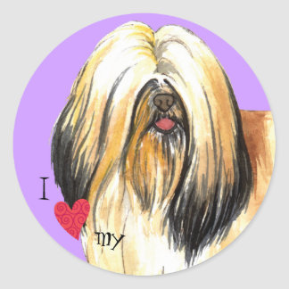 I Love my Lhasa Apso Classic Round Sticker