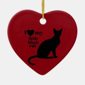 I Love My Little Black Cat Ceramic Ornament