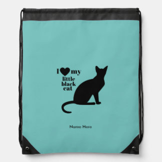 I Love My Little Black Cat Drawstring Bag