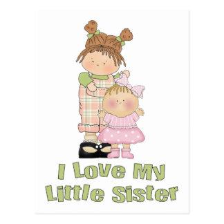 I Love My Little Sister Girls Postcard