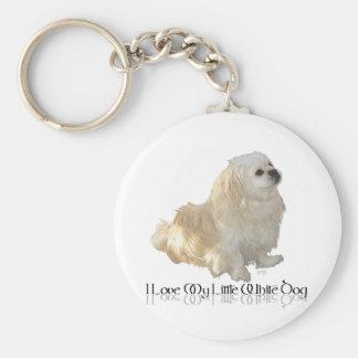 I Love My Little White Dog - Pekingese ! Keychain