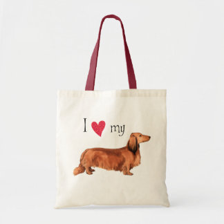 I Love my Longhaired Dachshund Tote Bag