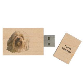I Love My Lowchen Wood USB Flash Drive