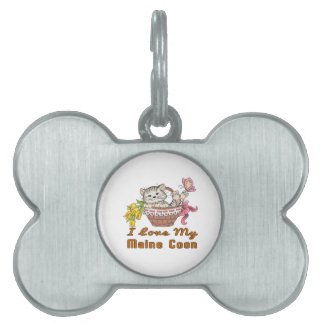 I Love My Maine Coon Pet Name Tags