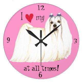 I Love my Maltese Large Clock