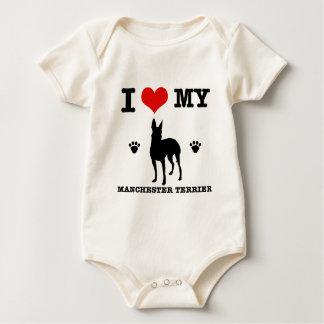 I Love my manchester Terrier Baby Bodysuit