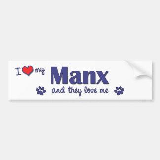 I Love My Manx (Multiple Cats) Bumper Sticker