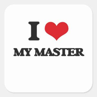 I Love My Master Square Stickers