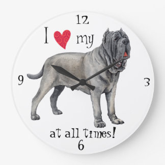 I Love my Mastino Large Clock
