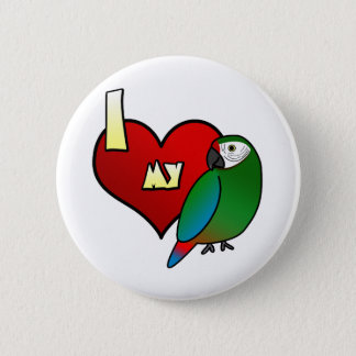 I Love my Military Macaw 2 Inch Round Button
