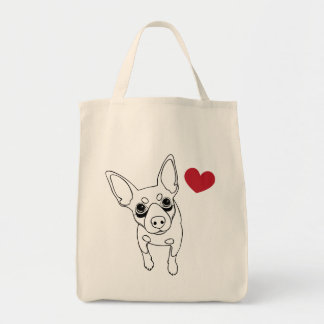 I Love My Min Pin Dog Grocery Bag Shopping Tote