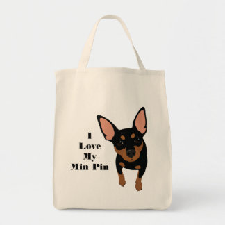 I Love My Min Pin Dog Tote (Black MIN PIN)