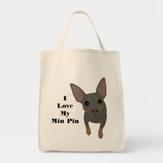 I Love My Min Pin Dog Tote (Blue MIN PIN)