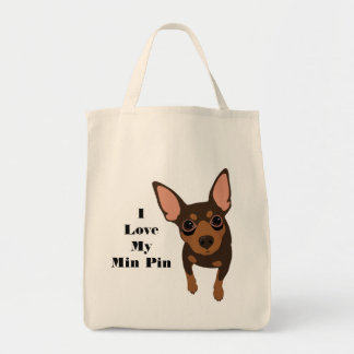I Love My Min Pin Dog Tote (Chocolate MIN PIN)