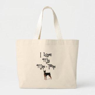 I Love My Min-Pin Large Tote Bag