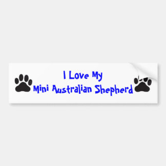 I Love My Mini Australian Shepherd Bumper Sticker
