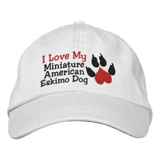 I Love My Miniature  American Eskimo Dog Paw Print Embroidered Hats