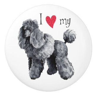 I Love my Miniature Poodle Ceramic Knob