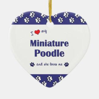 I Love My Miniature Poodle (Female Dog) Double-Sided Heart Ceramic Christmas Ornament