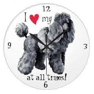 I Love my Miniature Poodle Large Clock