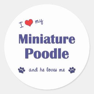 I Love My Miniature Poodle (Male Dog) Round Sticker