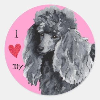I Love my Miniature Poodle Round Sticker