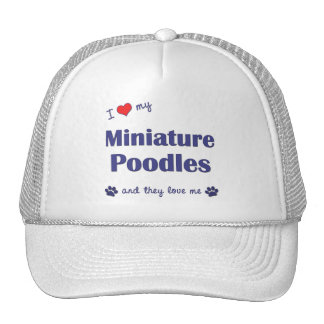 I Love My Miniature Poodles (Multiple Dogs) Mesh Hat