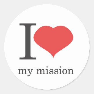 i love my mission classic round sticker
